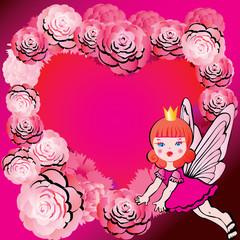Princess in Love. Fairy-tale. Vector art-illustration.