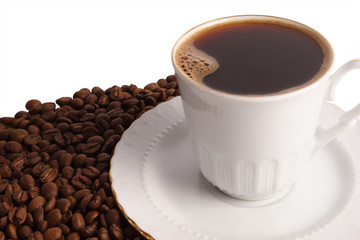 Cup of hot black coffee with beans  on white background