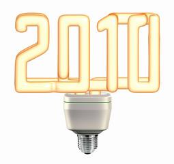 Light bulb 2010 year - saving energy