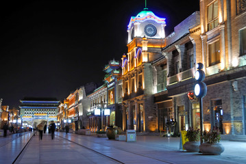 China Beijing Qianmen old shopping street at night