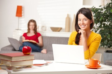 Teen students learning at home