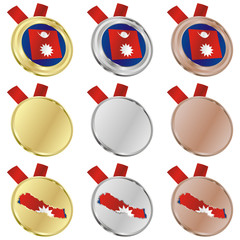 fully editable nepal vector flag in medal shapes