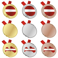 fully editable latvia vector flag in medal shapes