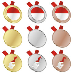 fully editable monaco vector flag in medal shapes