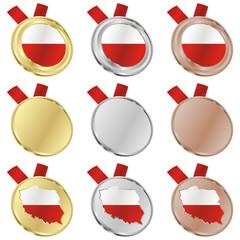 fully editable poland vector flag in medal shapes