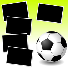 Soccer sport theme with photo template paper