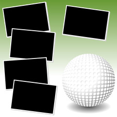 Golf sport theme with photo template paper