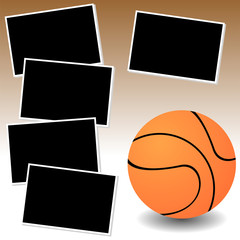 Basketball sport theme with photo template paper