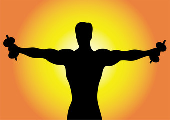 Silhouette man with dumbbells.
