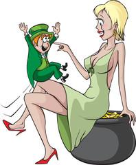 Sexy woman and Leprechaun