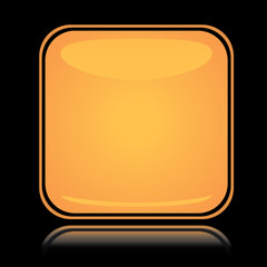 Yellow square icon blank button with reflection over black