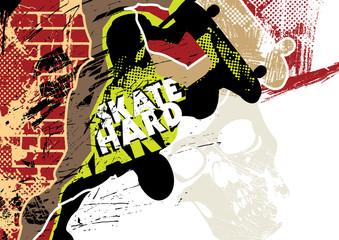 Skateboarding poster with grunge background