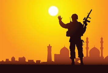 Tuinposter Militair Silhouette of a soldier with mosques on the background