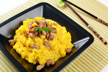 Saffron Risotto with Curry Pork