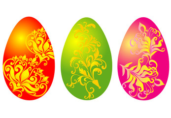 easter eggs with floral ornament, vector illustration