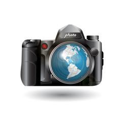 photo and globe