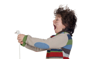 Child plug receiving electric shock