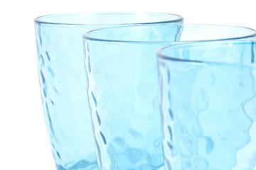 set of three blue cups