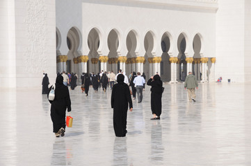 People at Sheikh Zayed Mosque in Abu Dhabi, UAE