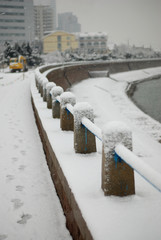 White snow covered the seaside guardrail
