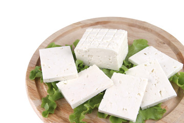 white goat cheese served