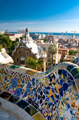 mosaic bench in Park Guell in Barcelona