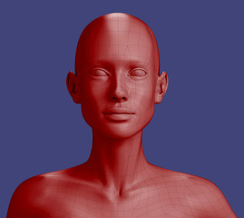 Polygonal red bust of woman