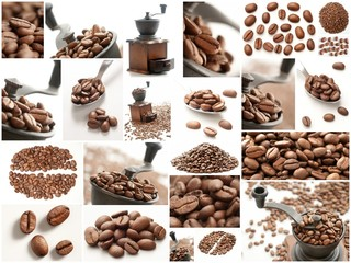 Collage with Coffee Beans photos.