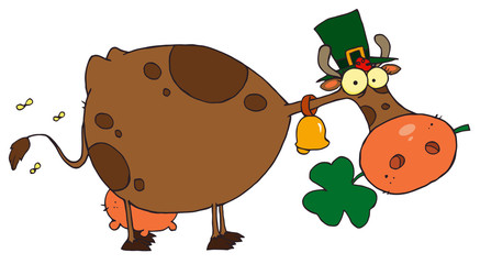 St. Patrick Day Cow with Shamrocks in Mouth and Hat