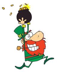 Lucky Leprechaun Running With A Pot Of Gold