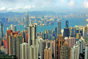 Foto op Aluminium Hong-Kong China, Hong Kong cityscape from the Peak
