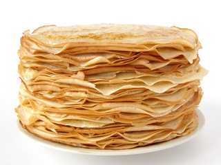 homemade pancakes pile on plate