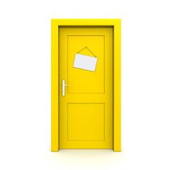 Closed Yellow Door With Dummy Door Sign