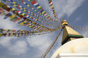 Tibetan prayer flags at Bodhnath Stupa in Kathmandu, Nepal.
