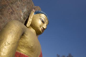 Golden Buddha statue at Swayambhunath in Kathmandu, Nepal.