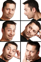 differente expression du visage d'un homme