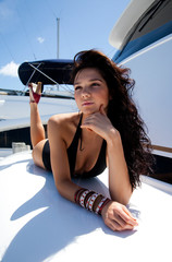Model on yacht in Miami