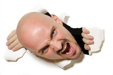 Kopf durchstößt Papier