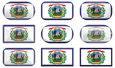 nine glass buttons of the Flag of West Virginia