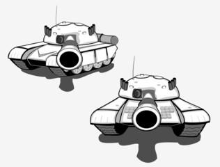 Set of military tanks