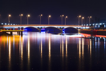 Bridge with Neon Light at night
