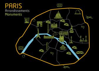 Plan de paris - Monuments touristiques - Noir fashion