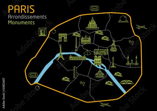 Plan de paris monuments touristiques noir fashion for Carte touristique de paris