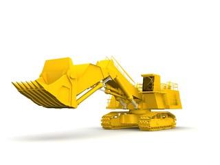 bulldozer-excavator isolated on white