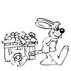 The rabbit carries a cart.