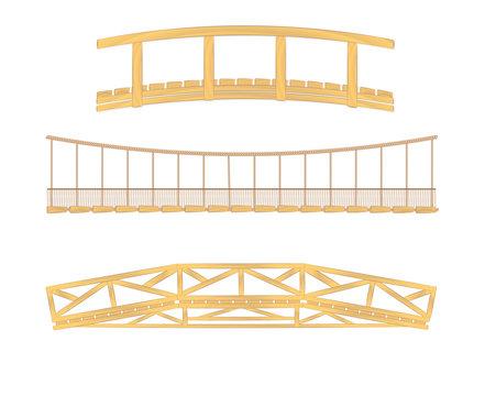 wooden and hanging bridge vector illustrations