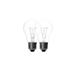 Two light bulb on white background