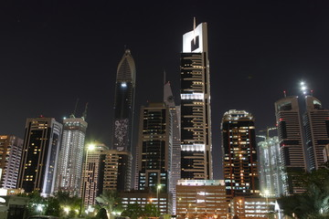 Skyline in Dubai at night.