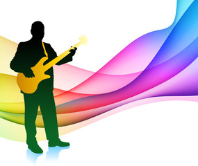 Guitar Player on Light Background