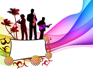 Music Band on Tropical Frame Background